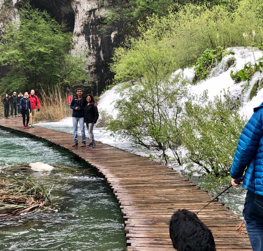 A walkway across the lakes in Plitvice lakes national park , Croatia
