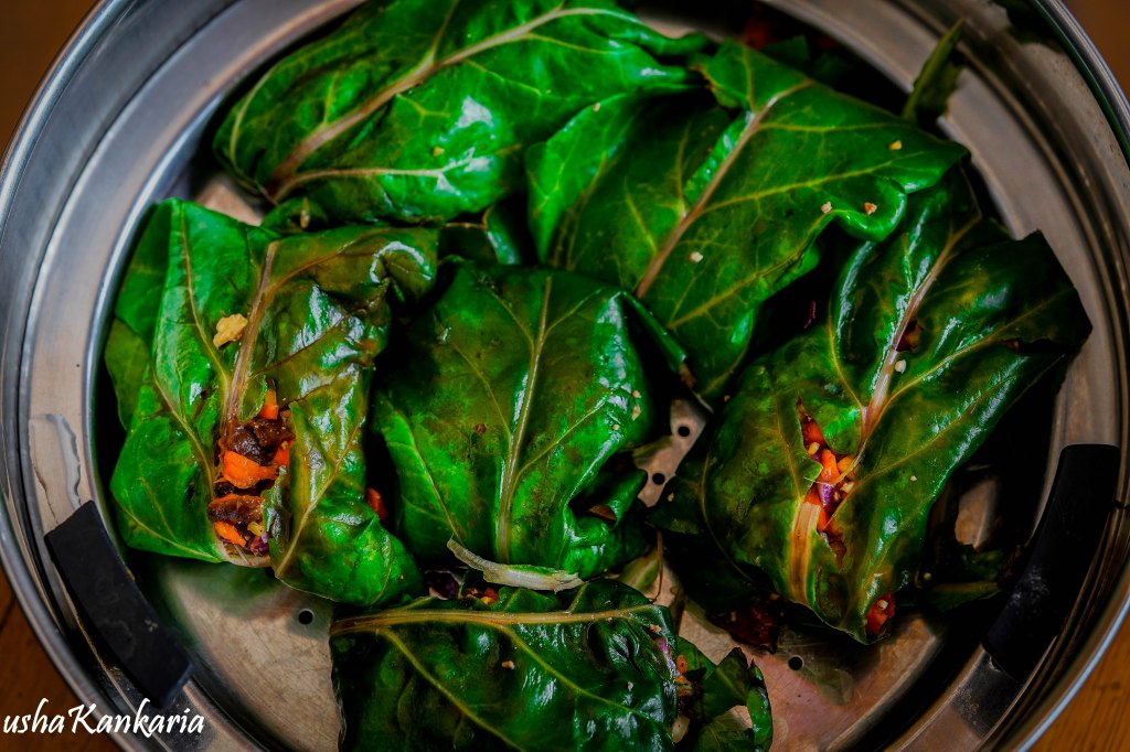 chard leaves vegetable wrap